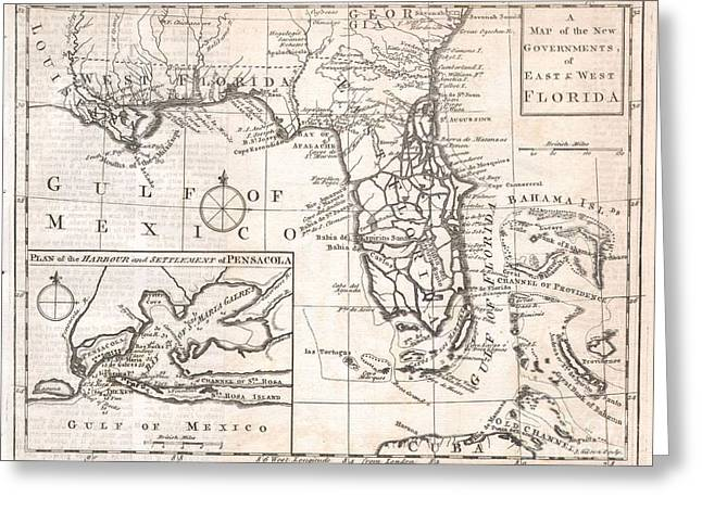 Buildings In The Harbor Greeting Cards - 1763 Gibson Map of East and West Florida Greeting Card by Paul Fearn