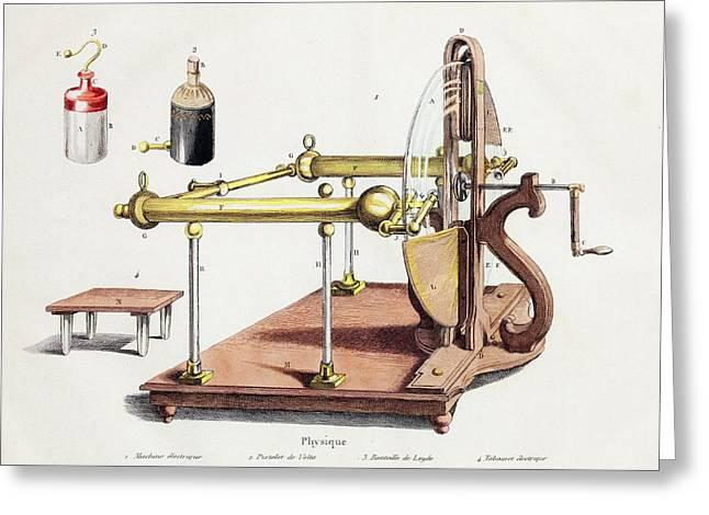 1768 Electrostatic Generator Leyden Jar Greeting Card by Paul D Stewart