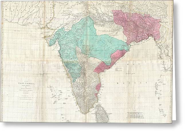 Dalrymple Greeting Cards - 1768 Jeffreys Wall Map of India and Ceylon Greeting Card by Paul Fearn