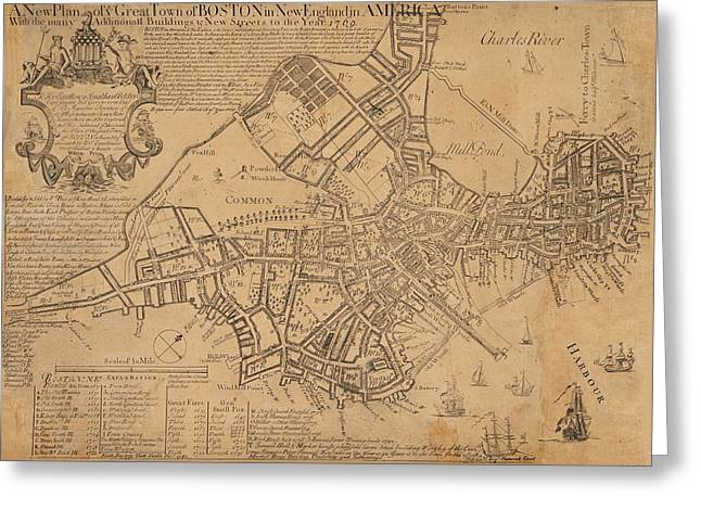 Revolutionary War Mixed Media Greeting Cards - 1769 Boston Massachusetts Map Greeting Card by Dan Sproul
