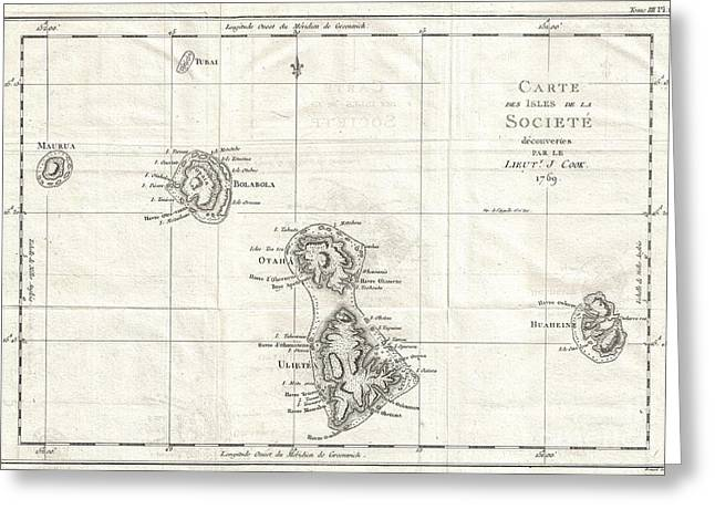 I Write Greeting Cards - 1769 Cook Map of the Society Islands Greeting Card by Paul Fearn