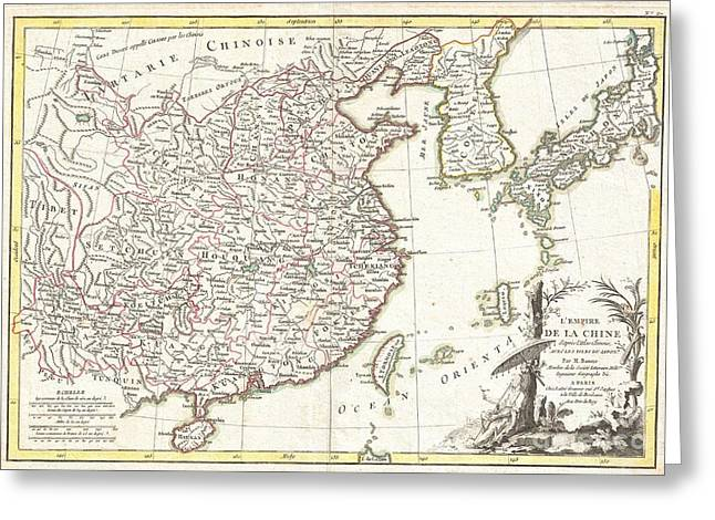 Beijing Map Greeting Cards - 1770 Bonne Map of China Korea Japan and Formosa Greeting Card by Paul Fearn