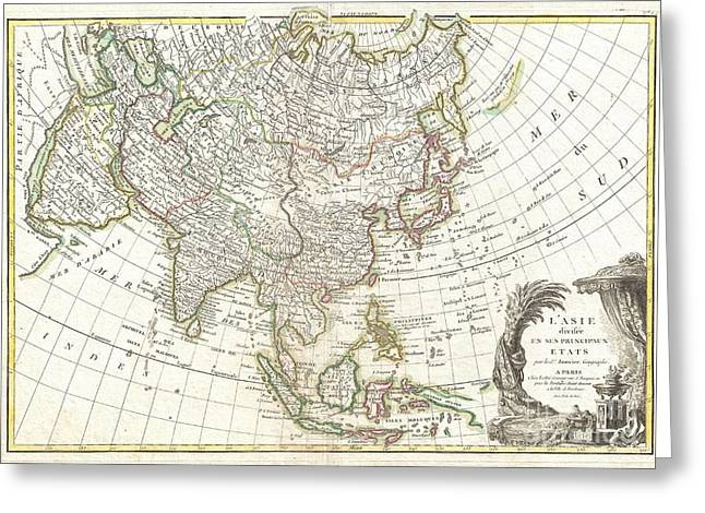 Though Blank Greeting Cards - 1770 Janvier Map of Asia Greeting Card by Paul Fearn