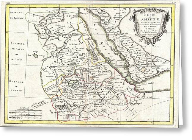1771 Bonne Map Of Abyssinia Ethiopia Sudan And The Red Sea Greeting Card by Paul Fearn