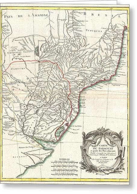 North American Inland Sea Greeting Cards - 1771 Bonne Map of Paraguay Uruguay and Brazil Greeting Card by Paul Fearn