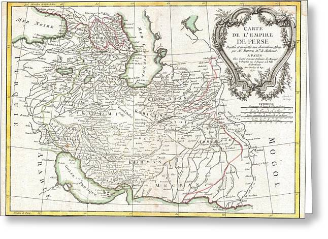 Village By The Sea Greeting Cards - 1771 Bonne Map of Persia  Iran Iraq Afghanistan Greeting Card by Paul Fearn