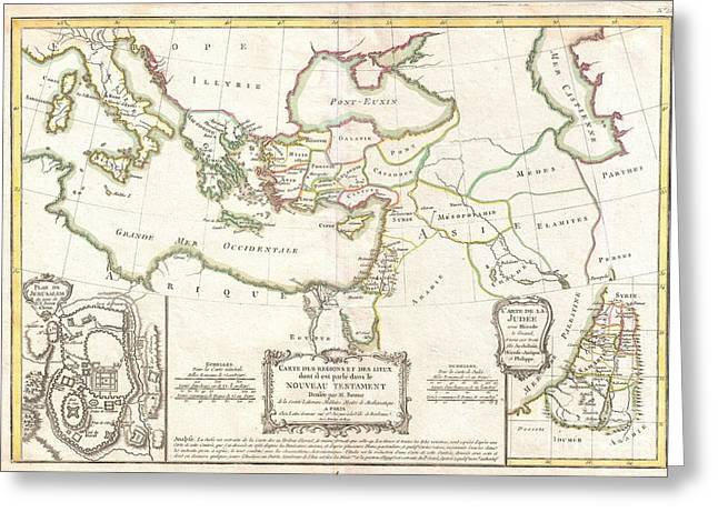 Jesus On The Mount Of Olives Greeting Cards - 1771 Bonne Map of the New Testament Lands Holy Land and Jerusalem Greeting Card by Paul Fearn