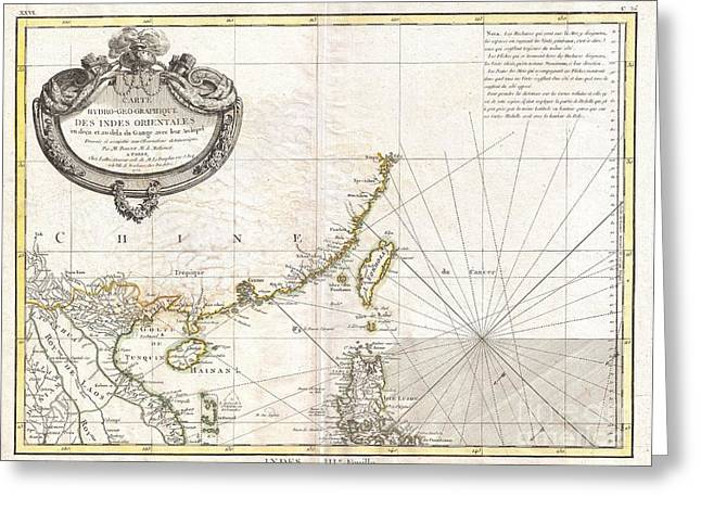Lines Of The Hands Greeting Cards - 1771 Bonne Map of Tonkin Vietnam China Formosa Taiwan and Luzon Philippines Greeting Card by Paul Fearn
