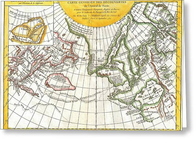 Slightly To The North Greeting Cards - 1772 Vaugondy and Diderot Map of the Pacific Northwest and the Northwest Passage Greeting Card by Paul Fearn