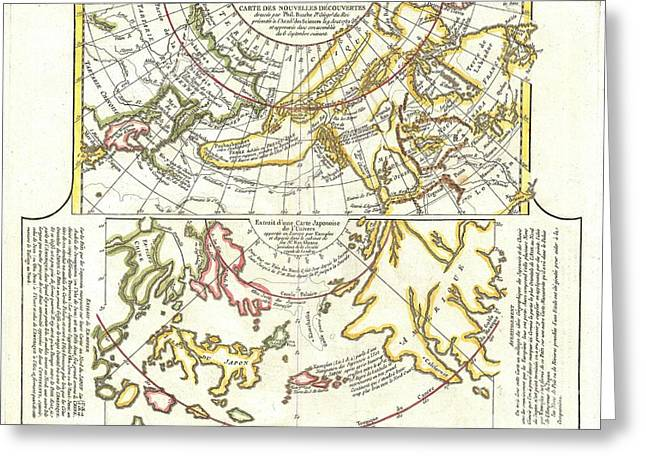1772 Vaugondy Diderot Map of Alaska the Pacific Northwest and the Northwest Passage Greeting Card by Paul Fearn