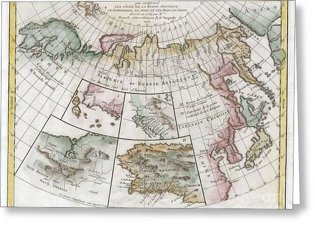 Mythical Series Greeting Cards - 1772 Vaugondy  Diderot Map of Asia Alaska and the Northeast Passage Greeting Card by Paul Fearn