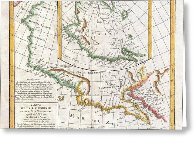 Mythical Series Greeting Cards - 1772 Vaugondy  Diderot Map of California and Alaska  Anian and Quivira  Greeting Card by Paul Fearn