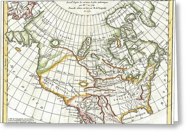 Mythical Series Greeting Cards - 1772 Vaugondy  Diderot Map of North America and the Northwest Passage Greeting Card by Paul Fearn
