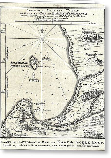 Brutality Greeting Cards - 1773 Bellin Map of the Cape of Good Hope Capetown South Africa Greeting Card by Paul Fearn