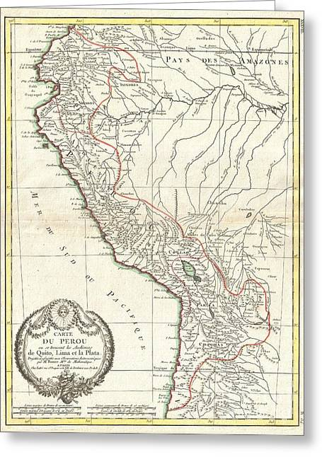 1775 Bonne Map Of Peru Ecuador Bolivia And The Western Amazon Greeting Card by Paul Fearn
