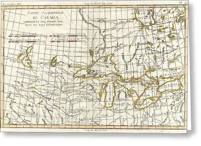 U.s On The Continent Of America Greeting Cards - 1775 Bonne Map of the Great Lakes and Upper Mississippi  Greeting Card by Paul Fearn