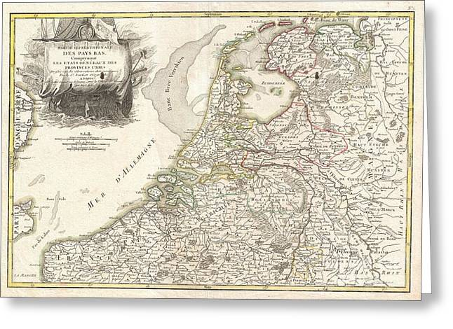 And Merchant Ships Greeting Cards - 1775 Janvier Map of Holland and Belgium Greeting Card by Paul Fearn