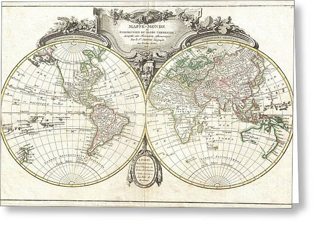 Geographic Location Greeting Cards - 1775 Lattre and Janvier Map of the World on a Hemisphere Projection  Greeting Card by Paul Fearn