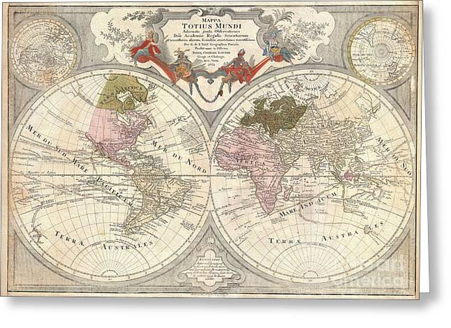 World Of Appearances Greeting Cards - 1775 Lotter Map of the World on a Hemisphere Projection Greeting Card by Paul Fearn