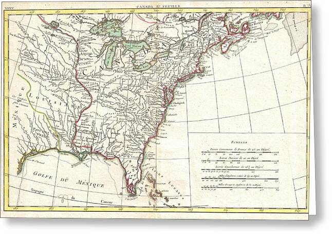Slightly To The North Greeting Cards - 1776 Bonne Map of Louisiana and the British Colonies in North America Greeting Card by Paul Fearn