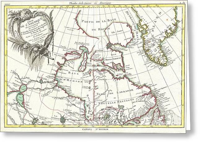 Slightly To The North Greeting Cards - 1776 Bonne Map of the Hudson Bay Canada Greeting Card by Paul Fearn