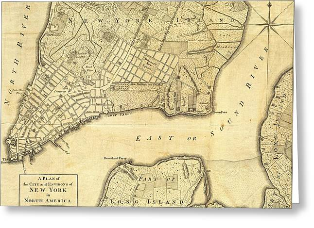 Old Map Mixed Media Greeting Cards - 1776 New York City Map Greeting Card by Dan Sproul