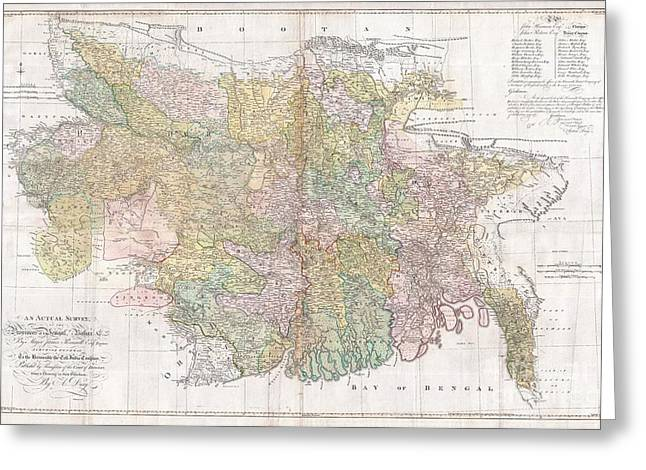Sayers Greeting Cards - 1776 Rennell  Dury Wall Map of Bihar and Bengal India Greeting Card by Paul Fearn