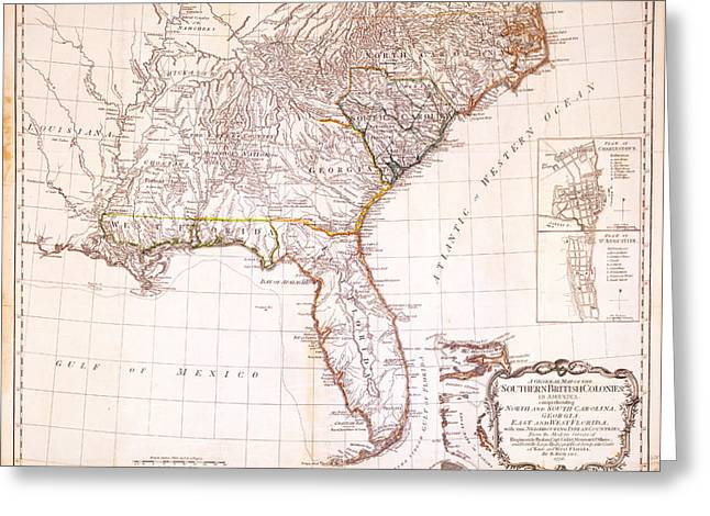 1776 - The Seat Of War In The Southern British Colonies Greeting Card by Kayleigh Green