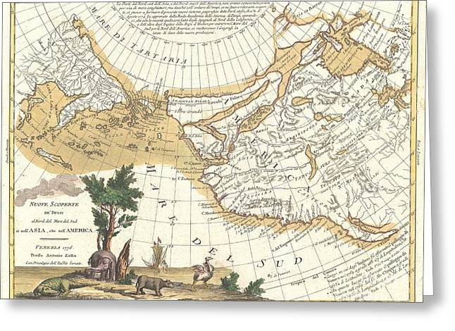 North American Inland Sea Greeting Cards - 1776 Zatta Map of California and the Western Parts of North America Greeting Card by Paul Fearn