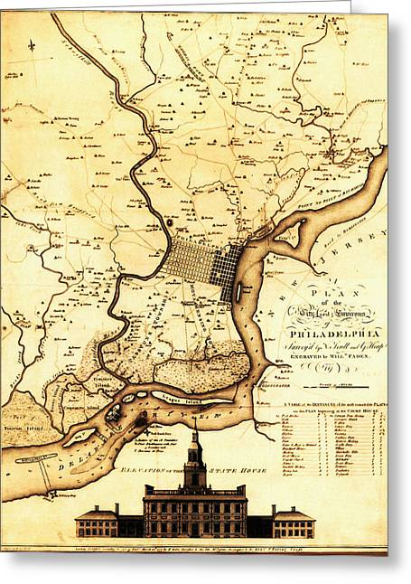1777 Philadelphia Map Greeting Card by Scull and Heap