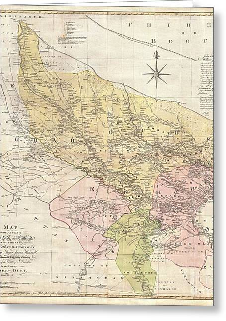 Sayers Greeting Cards - 1777 Rennell  Dury Wall Map of Delhi and Agra India Greeting Card by Paul Fearn