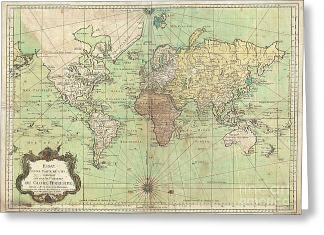 Slightly To The North Greeting Cards - 1778 Bellin Nautical Chart or Map of the World Greeting Card by Paul Fearn