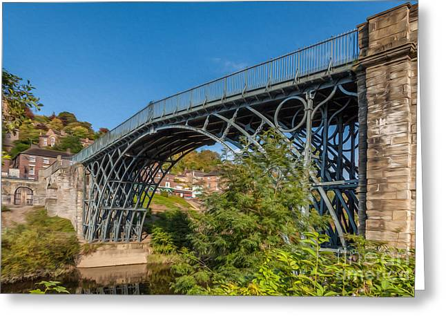 Coalbrookdale Greeting Cards - 1779 Iron Bridge England Greeting Card by Adrian Evans