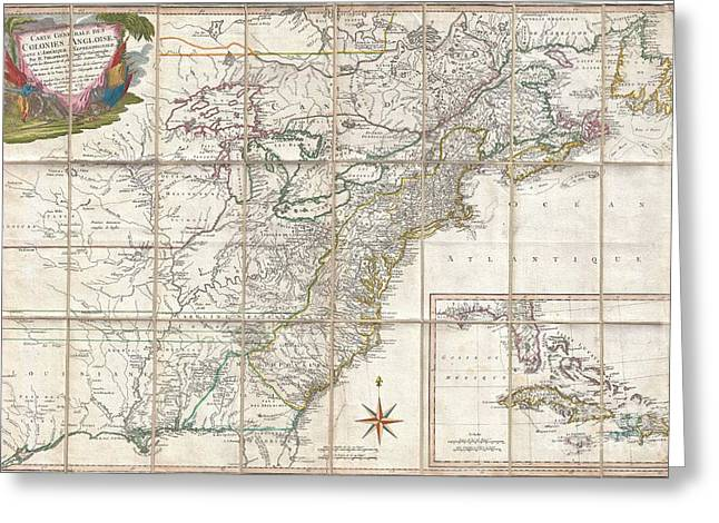 U.s On The Continent Of America Greeting Cards - 1779 Phelippeaux Case Map of the United States during the Revolutionary War Greeting Card by Paul Fearn