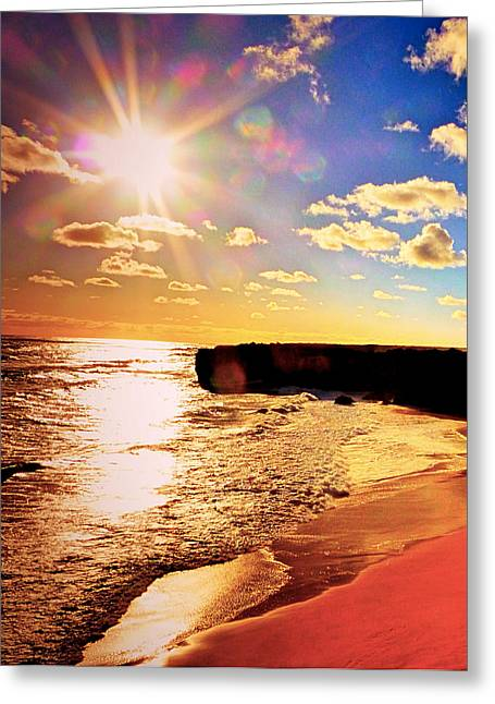 Sunset Framed Prints Pyrography Greeting Cards - Bright sunset Greeting Card by Girish J