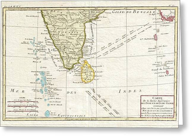 Recently Sold -  - The Plateaus Greeting Cards - 1780 Bonne Map of Southern India Ceylon and the Maldives Greeting Card by Paul Fearn