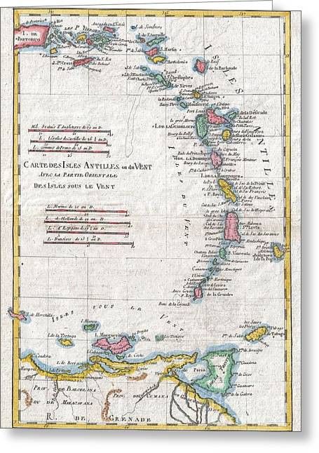 St Margarita Greeting Cards - 1780 Raynal and Bonne Map of Antilles Islands Greeting Card by Paul Fearn