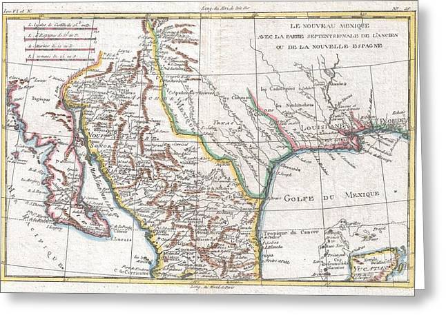Dressed As Indians Greeting Cards - 1780 Raynal and Bonne Map of Mexico and Texas  Greeting Card by Paul Fearn