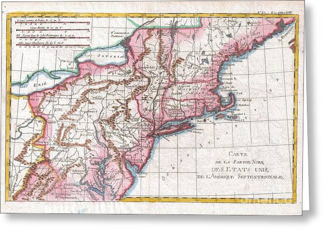 Correspond With Greeting Cards - 1780 Raynal and Bonne Map of Northern United States Greeting Card by Paul Fearn
