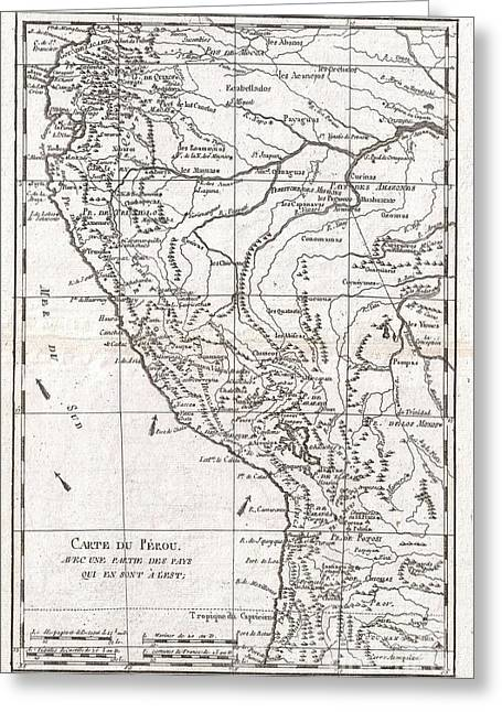 Old Roadway Greeting Cards - 1780 Raynal and Bonne Map of Peru Greeting Card by Paul Fearn