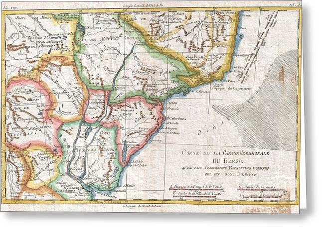 Correspond With Greeting Cards - 1780 Raynal and Bonne Map of Southern Brazil Northern Argentina Uruguay and Paraguay Greeting Card by Paul Fearn