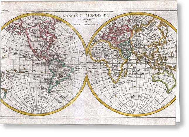 Correspond With Greeting Cards - 1780 Raynal and Bonne Map of the Two Hemispheres Greeting Card by Paul Fearn