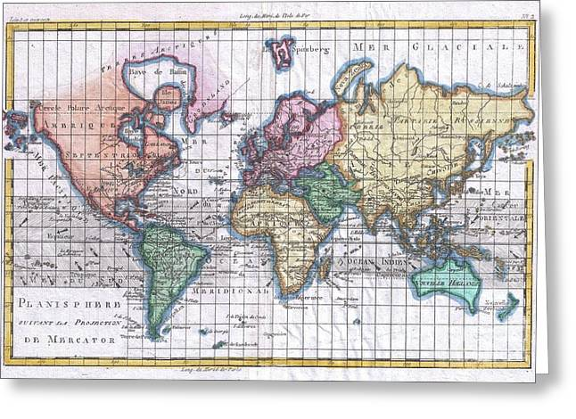 Misunderstanding Greeting Cards - 1780 Raynal and Bonne Map of the World Greeting Card by Paul Fearn