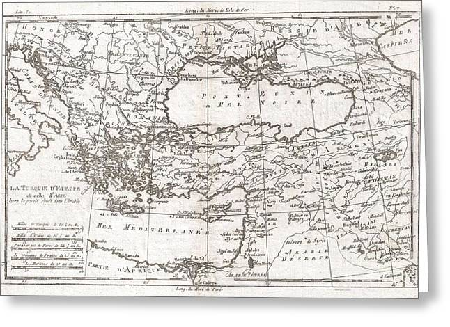 1780 Raynal and Bonne Map of Turkey in Europe and Asia Greeting Card by Paul Fearn