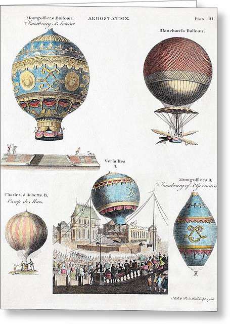 1783 World's First Flying Balloons Design Greeting Card by Paul D Stewart