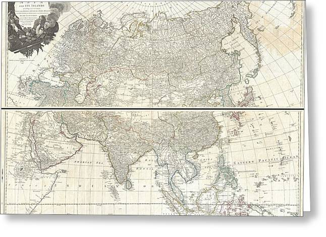 Join Or Die Greeting Cards - 1784 D Anville Wall Map of Asia Greeting Card by Paul Fearn