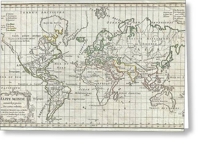 1784 Vaugondy Map Of The World On Mercator Projection Greeting Card by Paul Fearn