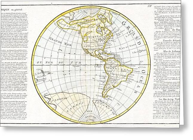 Geographic Location Greeting Cards - 1785 Clouet Map of North America and South America Greeting Card by Paul Fearn