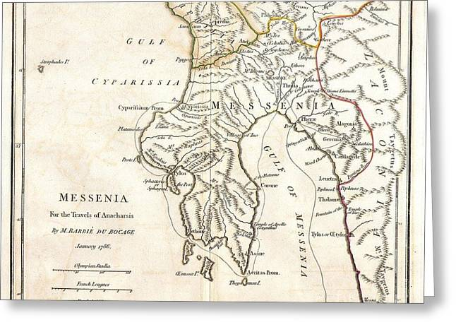 Messenia Greeting Cards - 1786 Bocage Map of Messenia in Ancient Greece Greeting Card by Paul Fearn