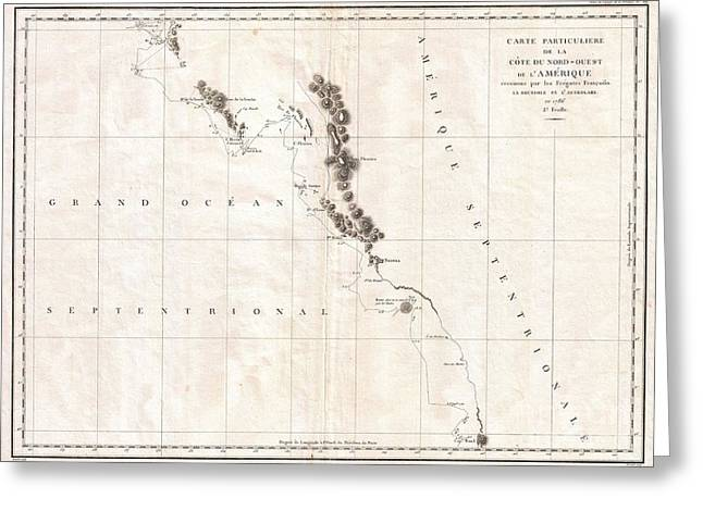Art Of Vital Greeting Cards - 1786 La Perouse Map of Vancouver and British Columbia Canada Greeting Card by Paul Fearn